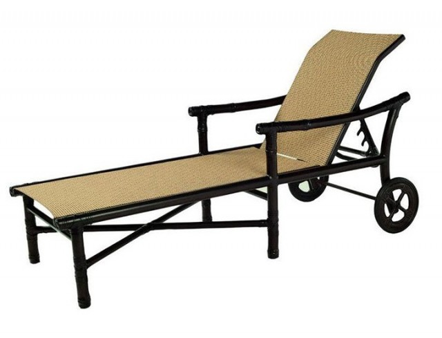 Sling Chaise Lounge With Wheels