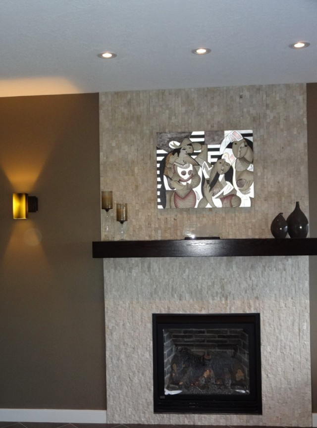 Split Face Mosaic Tile Fireplace