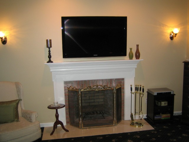 Tv Over Fireplace Where To Put Cable Box