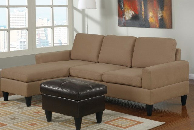 Vogue Microfiber Reversible Chaise Sectional Sofa Multiple Colors