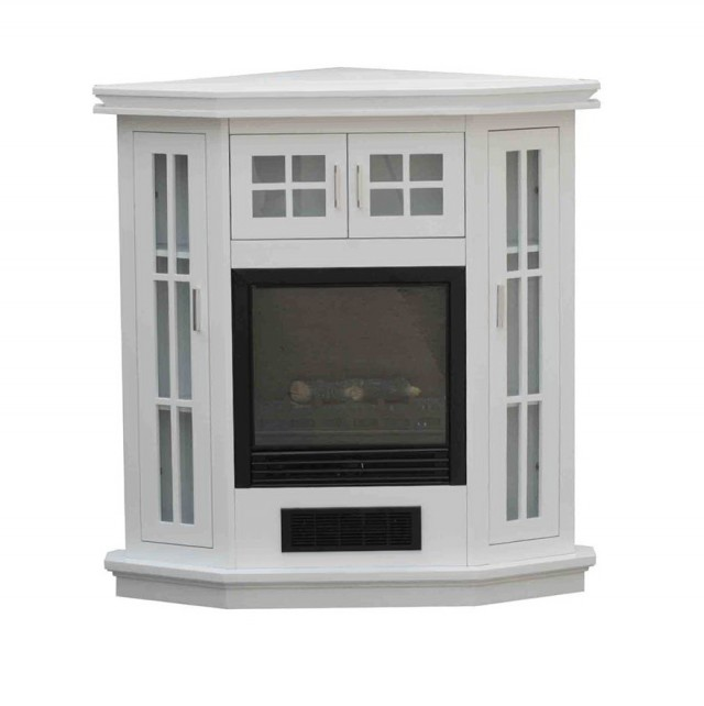 White Corner Media Fireplace