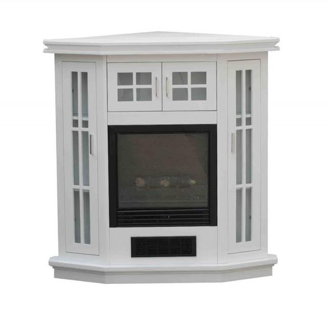 White Corner Media Fireplace