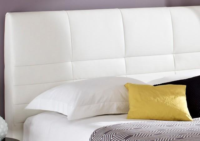 White Padded Headboard Bed