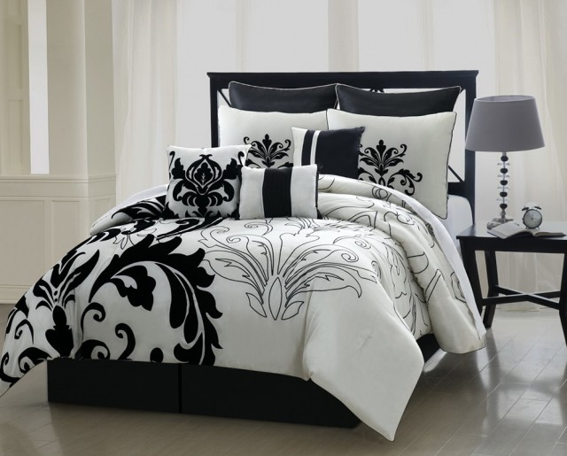 Black And White Damask Headboard