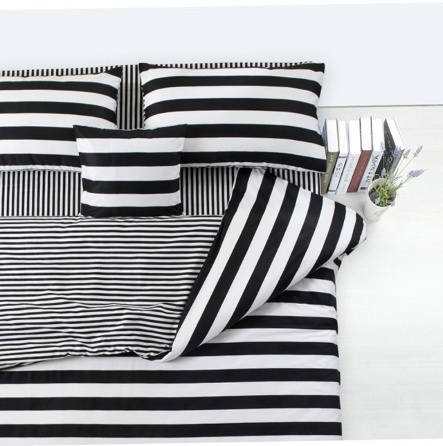 Black And White Striped Upholstered Headboard