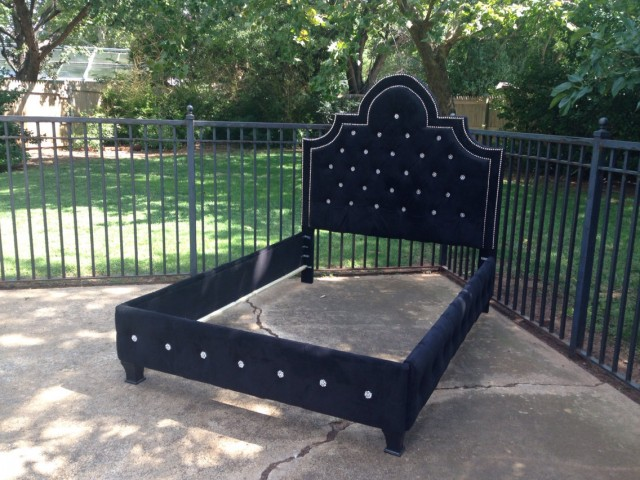 Black Velvet Tufted Headboard