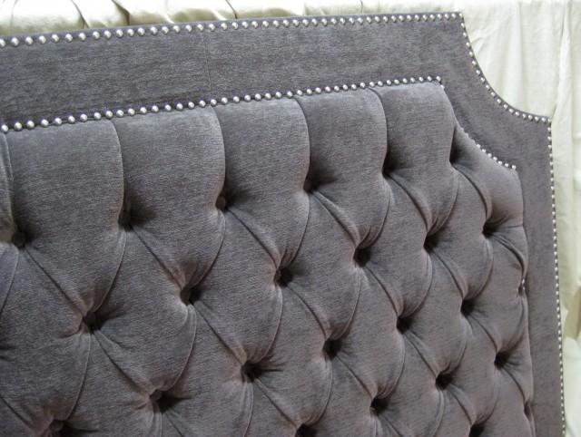 Gray Upholstered Headboard King
