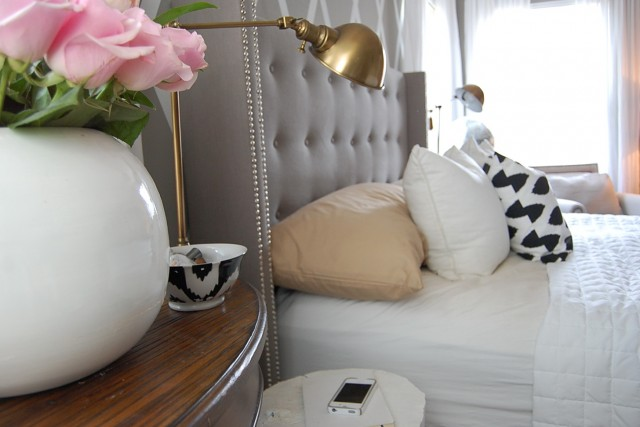 Gray Velvet Tufted Headboard