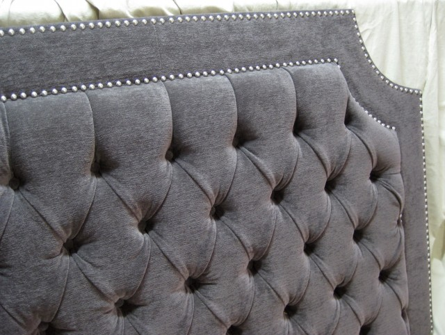 Grey Tufted Headboard King