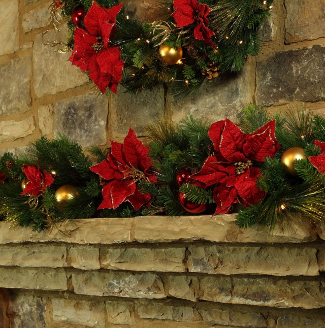 Outdoor Fireplace Christmas Decorations
