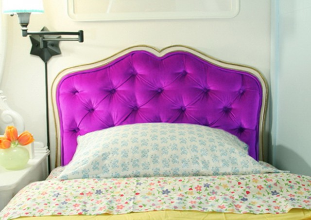 Purple Velvet Tufted Headboard