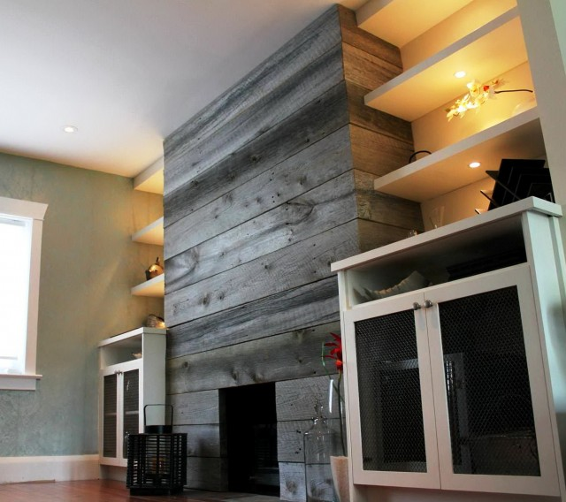 Reclaimed Wood Fireplace Wall