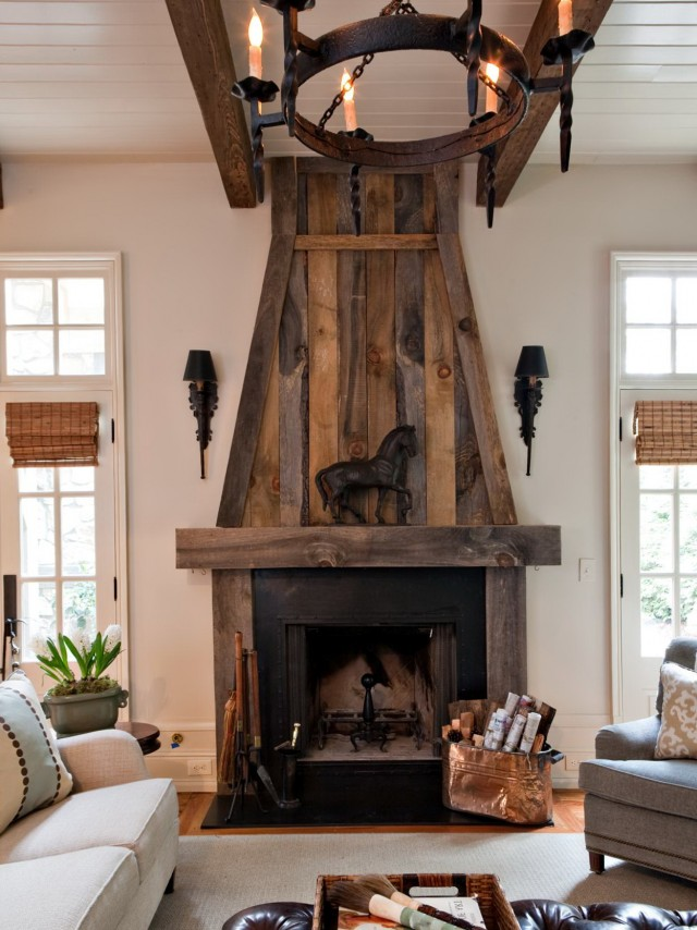 Reclaimed Wood Over Fireplace