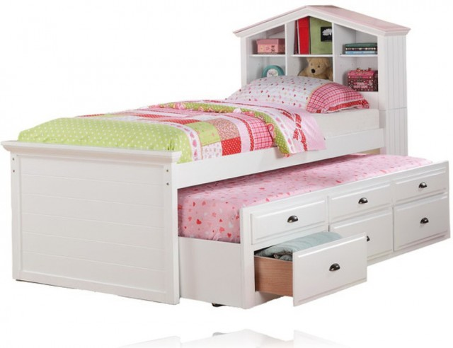Twin Bed With Bookcase Headboard And Storage