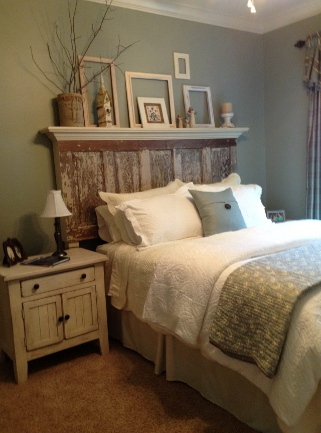 Wall Mounted Headboard With Shelves