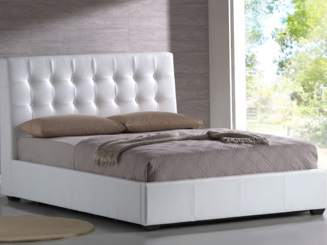 White Leather Headboard Queen Size