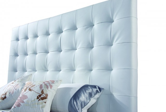 White Leather Tufted Headboard King