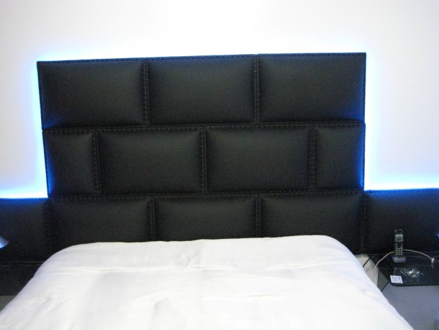 Black Leather Queen Headboard