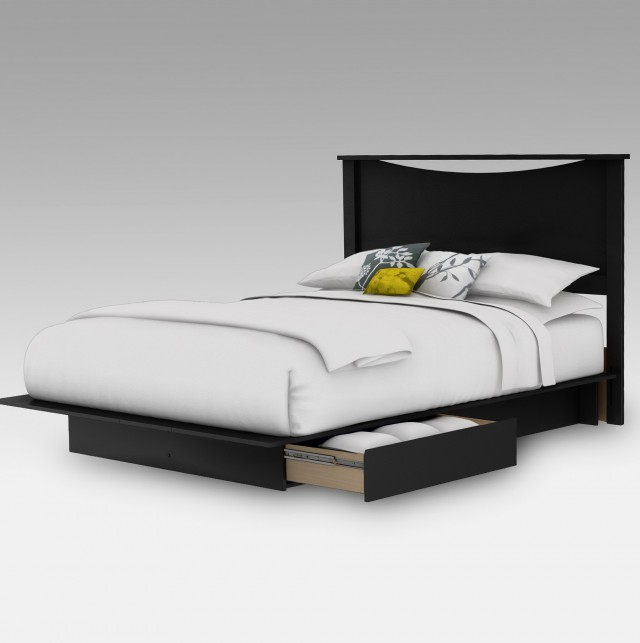 Black Platform Bed With Headboard