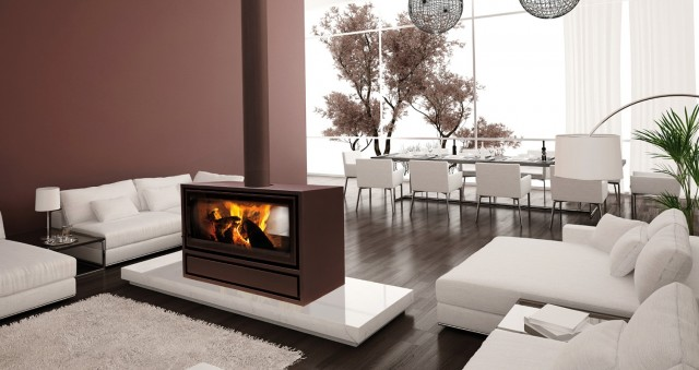 Double Sided Wood Fireplaces