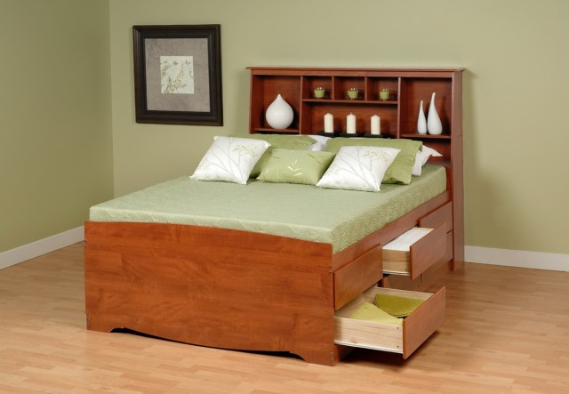 Full Size Bed With Storage Headboard