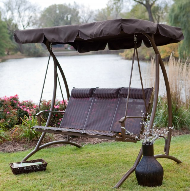 Metal Porch Swing With Canopy