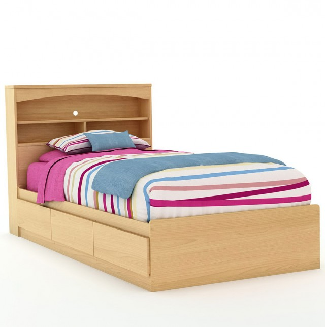 Queen Bookcase Headboard Maple
