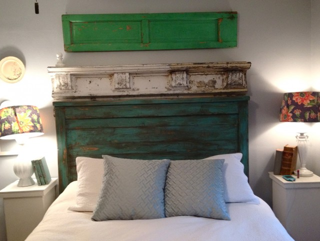 Reclaimed Wood Headboard With Shelves