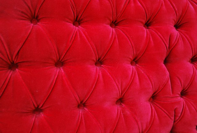 Red Velvet Tufted Headboard