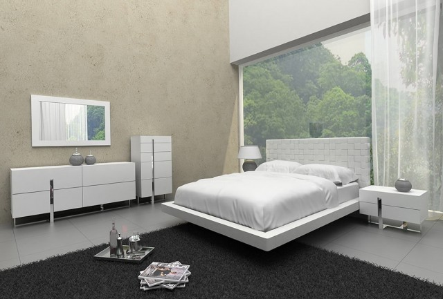 White Leather Headboard Bedroom Set