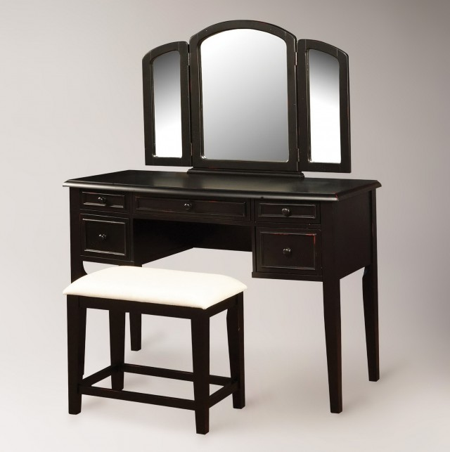 Black Vanity Table With Mirror And Bench