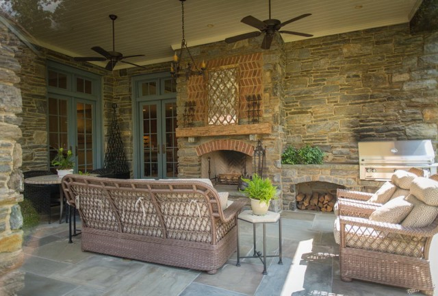 Covered Back Porch With Fireplace