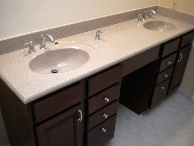 Double Bathroom Vanities With Makeup Area