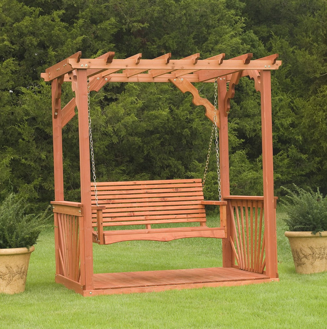 Freestanding Porch Swing With Canopy