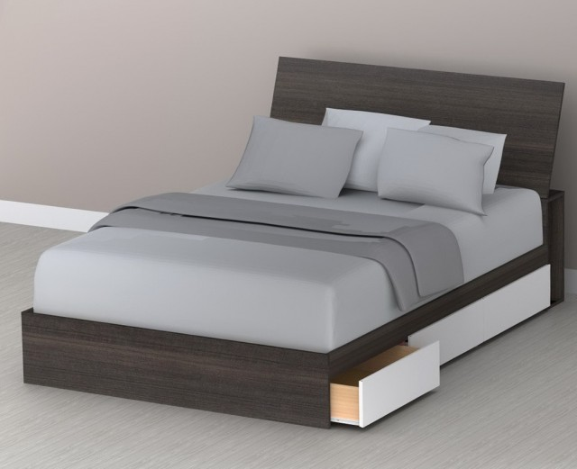 Queen Bed With Storage Headboard