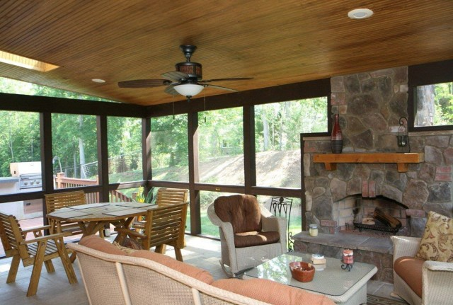 Screened In Back Porch With Fireplace