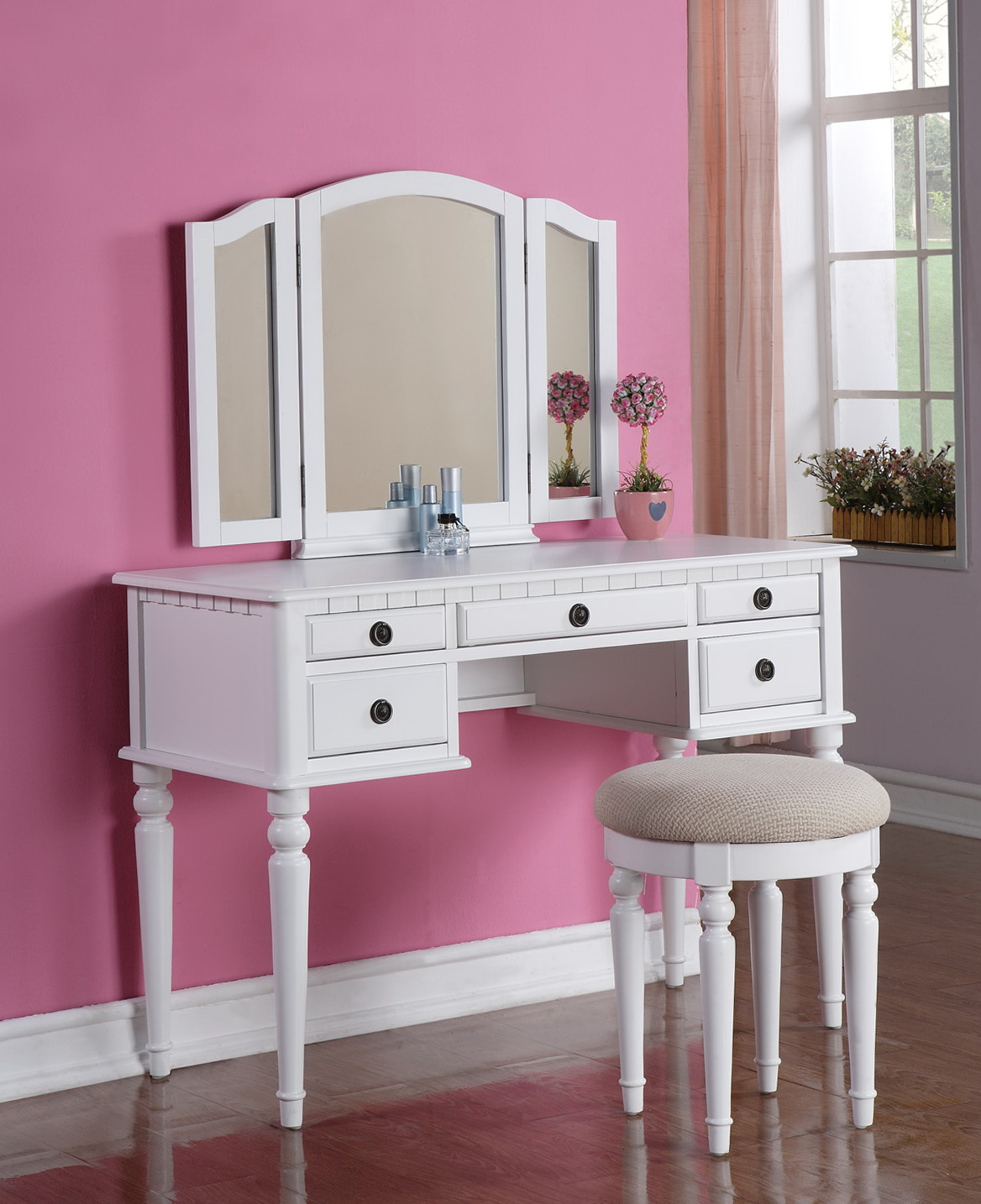 Vanity Set With Mirror And Stool