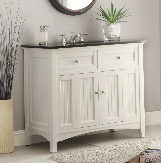White Bathroom Vanity With Black Top