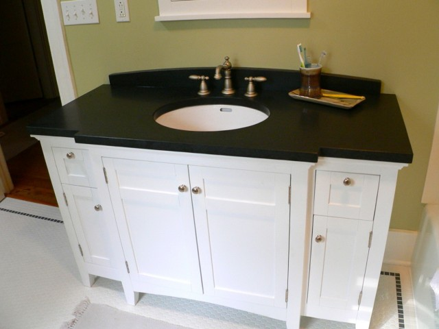 White Bathroom Vanity With Dark Countertop