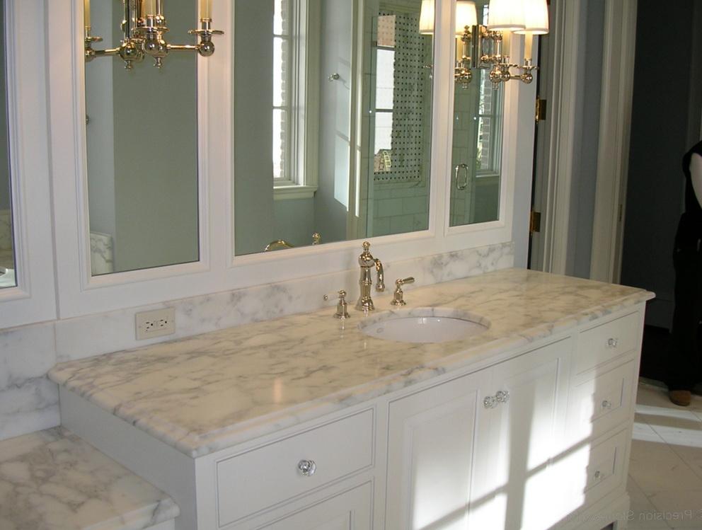 White Bathroom Vanity With Granite Top
