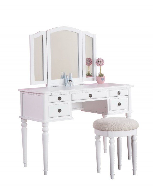 White Vanity With Mirror