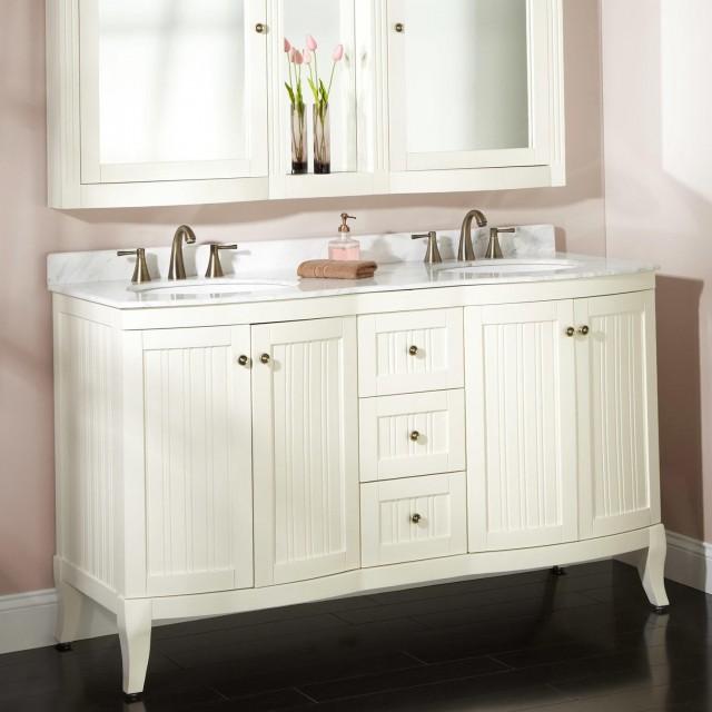 60 Double Sink Vanity White