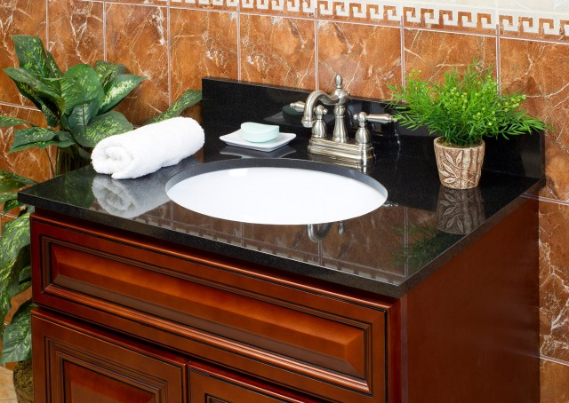 Black Cultured Marble Vanity Top