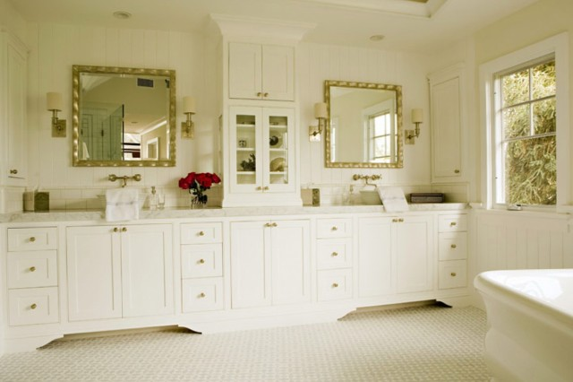 Double Bathroom Vanity With Hutch