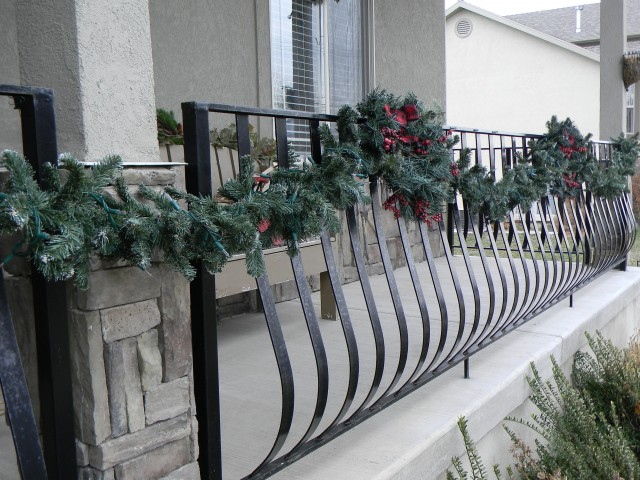 Front Porch Railing Christmas Decorations