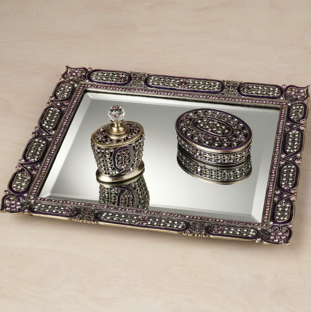 Jeweled Mirror Vanity Tray