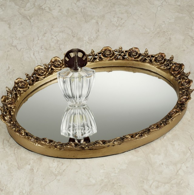 Oval Mirrored Vanity Tray