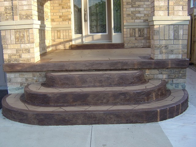 Stamped Concrete Front Porch Steps