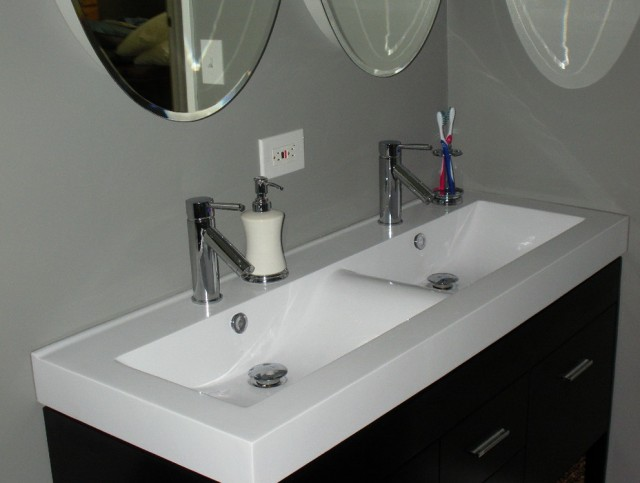 Trough Sink Two Faucet Vanity