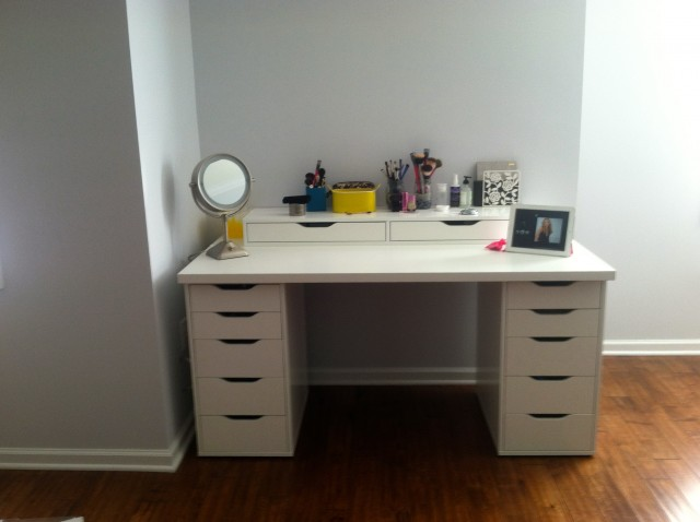 White Corner Vanity Desk